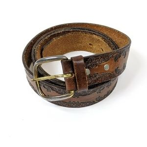 Vintage genuine leather embossed belt